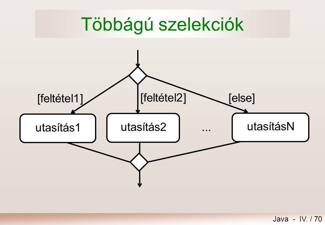 Többágú szelekciók [feltétel1] [feltétel2] [else] utasításN utasítás1